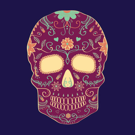 calavera: Vector illustration of Day of the Dead skull with ornament