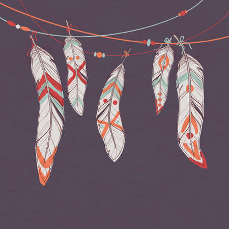 old pencil: Vector colorful set of ethnic decorative feathers hanging on threads