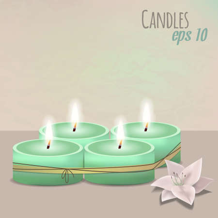 scented candle: Vector colorful illustration with candles set and flower