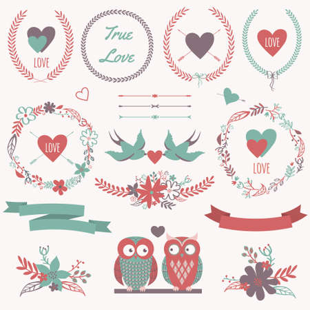Vector romantic set with bouquets, birds, hearts, arrows, ribbons, wreaths, flowers, bows, laurel and owls in love. Can be used for Valentines Day or wedding Vector