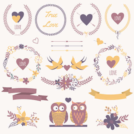 Vector romantic set with bouquets, birds, hearts, arrows, ribbons, wreaths, flowers, bows, laurel and owls in love. Can be used for Valentine's Day or wedding