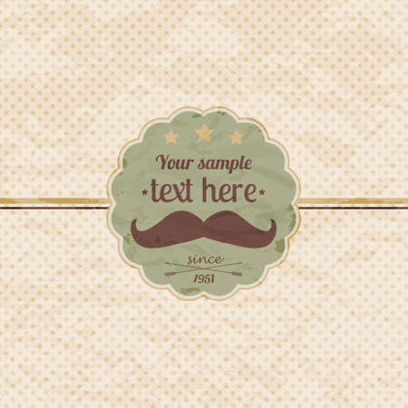 polka dot background: Vector hipster retro label with mustache Illustration