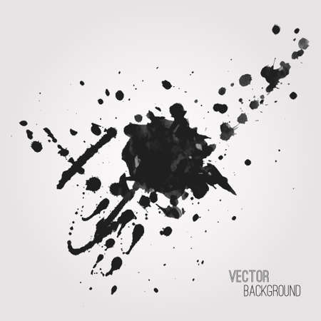 paint splatter: Vector grunge background with black splash