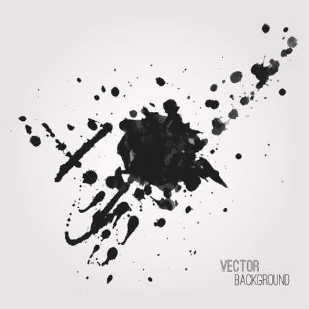 wet paint: Vector grunge background with black splash