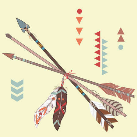 Vector illustration of different ethnic arrows with feathers