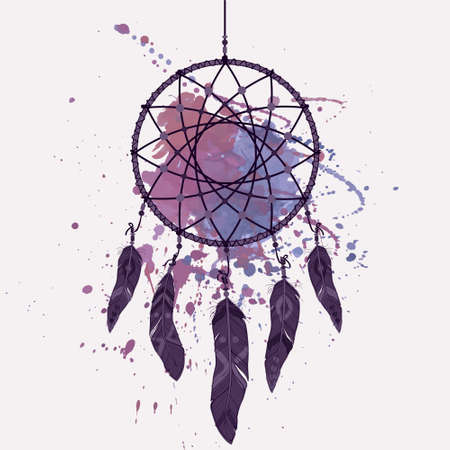 dream: Vector illustration of dream catcher with watercolor splash