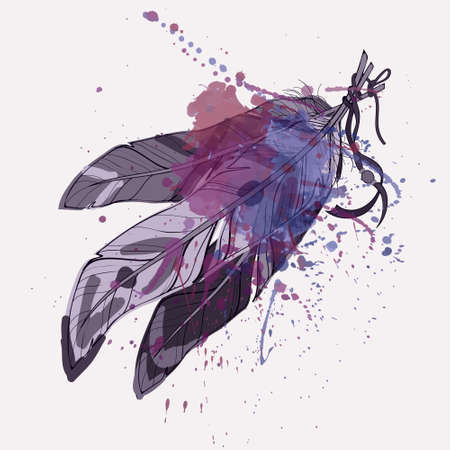 Vector illustration of ethnic decorative feathers with watercolor splash Vectores