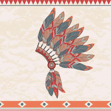 indian chief headdress: Vector colorata illustrazione del nativo americano copricapo capo indiano con piume