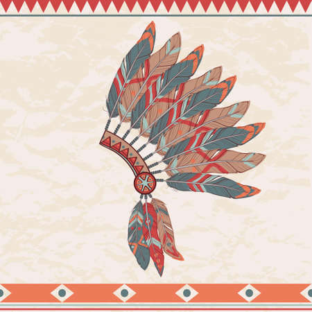 Vector colorful illustration of native american indian chief headdress with feathers Vector