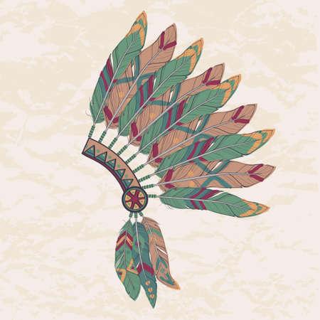 totem indien: Vector illustration colorée de la coiffure Indien de l'Amérique chef indigène avec des plumes