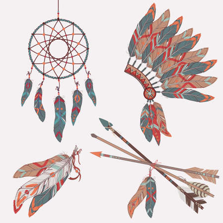 indian chief mascot: Vector colorful ethnic set with dream catcher, feathers, arrows and native american indian chief headdress