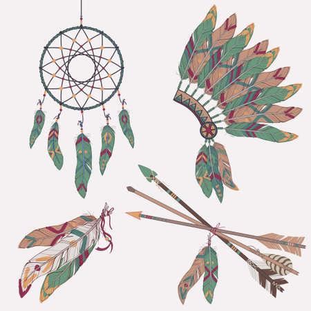 totem indien: Vector ensemble ethnique color�e avec receveur de r�ve, des plumes, des fl�ches et natif am�ricain indien chef coiffe
