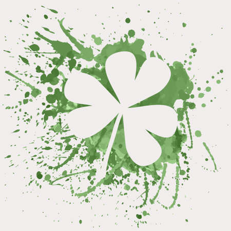 Vector illustration of shamrock for St. Patrick's Day with green watercolor splash