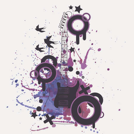 Vector illustration of electric guitar with watercolor splash, birds, circles and stars Vector