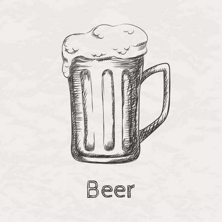 beer texture: Vector illustration of hand drawn sketch of beer mug Illustration