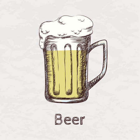 Vector colorful illustration of hand drawn sketch of beer mug