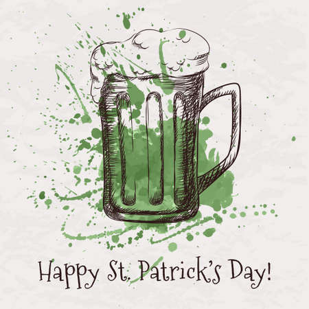 st patricks party: Vector colorful illustration of hand drawn sketch of beer mug for St. Patricks Day with green watercolor splash
