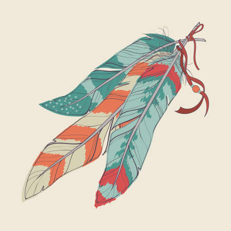 native american art: Vector illustration of decorative feathers