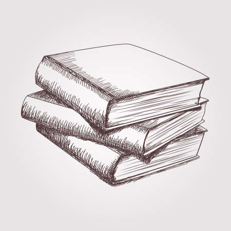 Vector sketch of books stack Çizim