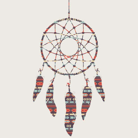 Vector colorful illustration of dream catcher with ethnic pattern Stock Illustratie
