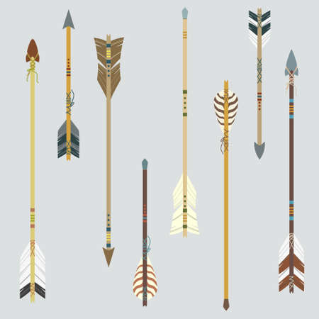 arco y flecha: Vector conjunto de flechas de colorido étnico Vectores