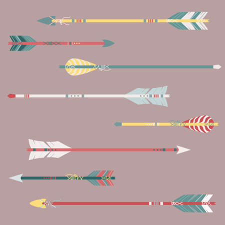 cherokee: Vector set of colorful ethnic arrows