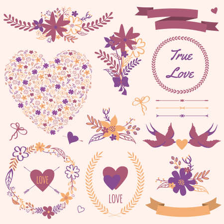 Vector wedding set with bouquets, birds, hearts, arrows, ribbons, wreaths, flowers, bows, laurel. Vector