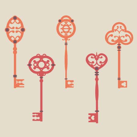 antique key: Vector set of cute vintage keys
