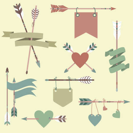 cherokee: Vector set with ethnic arrows, ribbons, flags, hearts Illustration