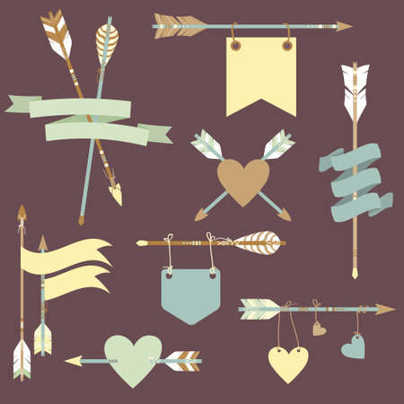 Vector set with ethnic arrows, ribbons, flags, hearts Vector