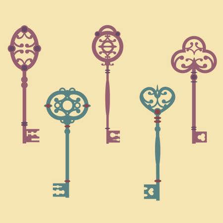 knickknack: Vector set of cute vintage keys