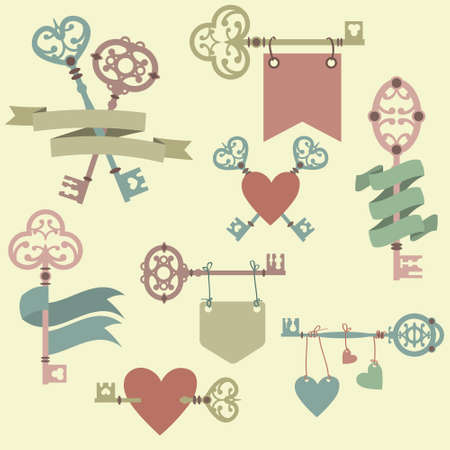 Vector set with vintage keys, ribbons and hearts. Can be used for wedding, Valentines Day greeting cards, invitations. Vector