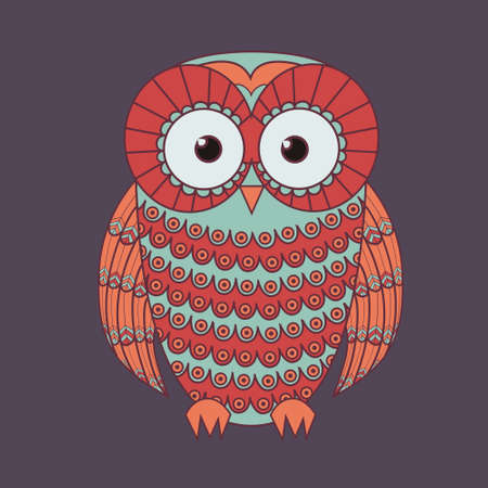 wise old owl: Vector illustration of decorative cute owl Illustration