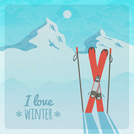 Vector retro illustration with snowy mountains and skis