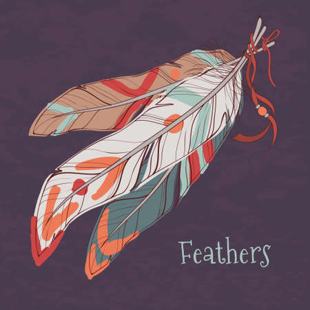 Vector illustration of ethnic decorative feathers 일러스트