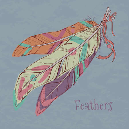 Vector illustration of ethnic decorative feathers Vector