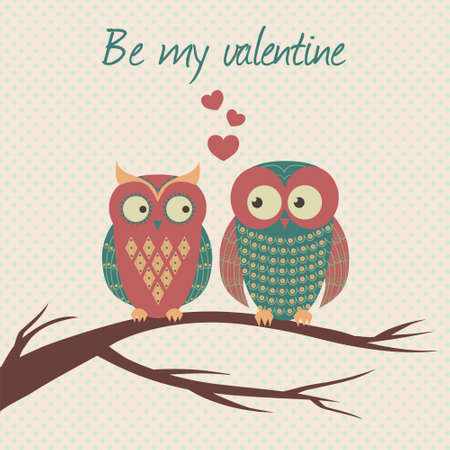 Vector colorful illustration with two owls in love sitting on a branch. Can be used for Valentines Day, wedding. Vector