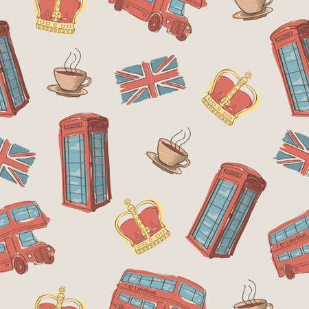 english tea: Vector colorful seamless pattern of hand-drawn London symbols Illustration