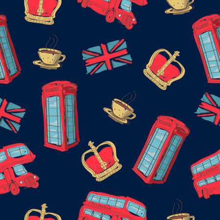 Vector colorful seamless pattern of hand-drawn London symbols Vector