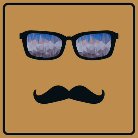 Vector abstract hipster background with mustaches and glasses Stock Vector - 30317658