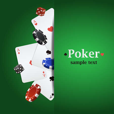 poker chip: Vector poker background with playing cards, chips and dices Illustration