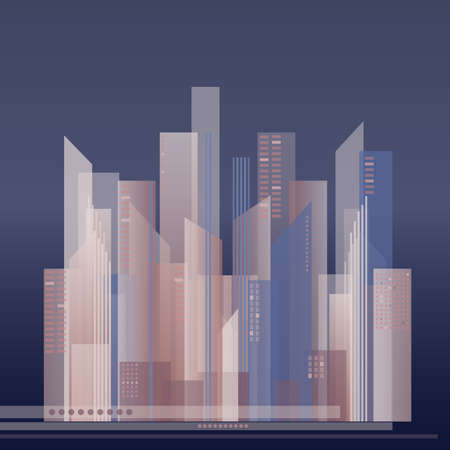 panoramic business: Vector colorful illustration of abstract city