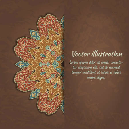 Vector colorful card with ethnic ornament on grunge background. Can be used for Valentine's Day or wedding invitation, packaging, scrapbooking.