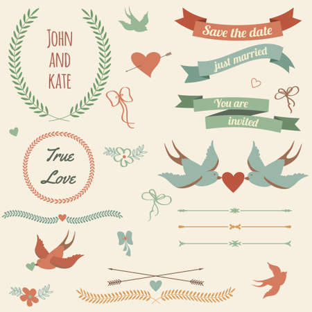 valentines day background: Vector wedding set with birds, hearts, arrows, ribbons, wreaths, flowers, bows, laurel.