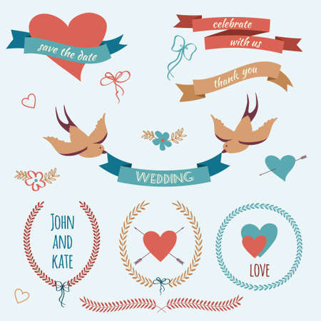 Vector wedding set with birds, hearts, arrows, ribbons, wreaths, flowers, bows, laurel. Vector