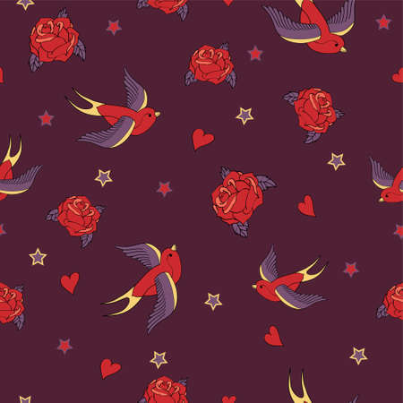school days: Vector seamless pattern with swallows, roses, hearts and stars