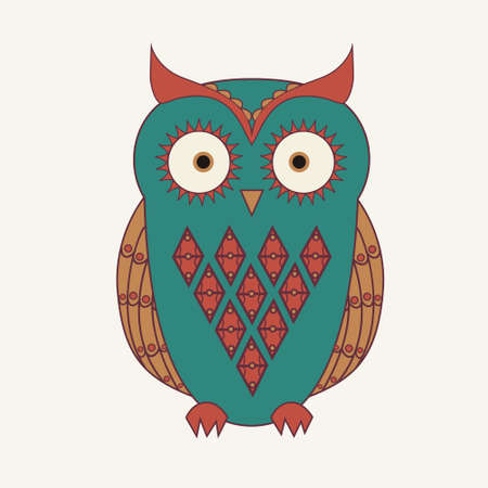 Vector illustration of decorative cute owl Vector