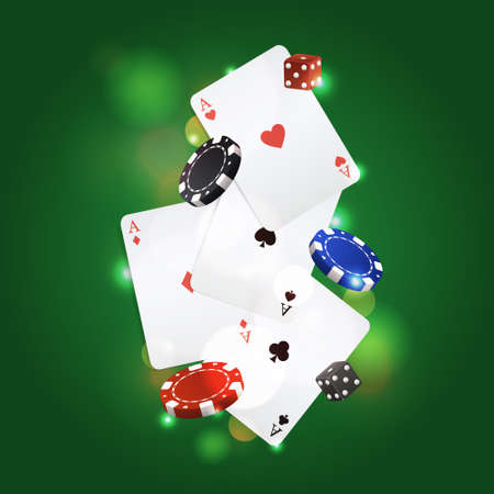 games of chance: Vector poker background with playing cards, chips and dices Illustration