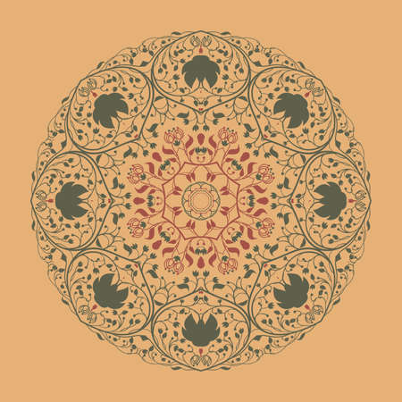 Vector colorful vintage illustration of round floral ornament Vector