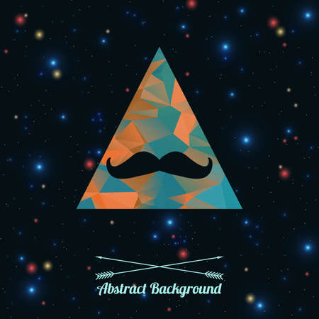 Vector abstract hipster background with triangle and mustaches Illusztráció